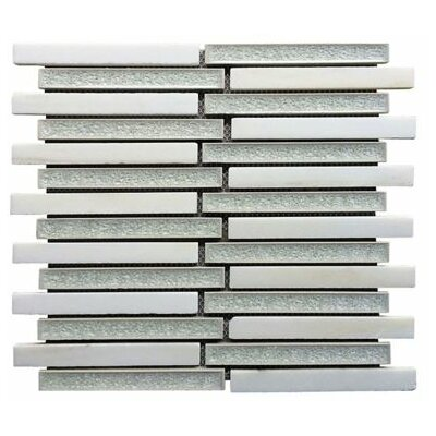 0.75 x 6 Ceramic and Stone Linear Blend Mosaic Tile in White and Gray