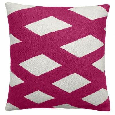 Plaid Wool Throw Pillow Color: Cream / Cerise