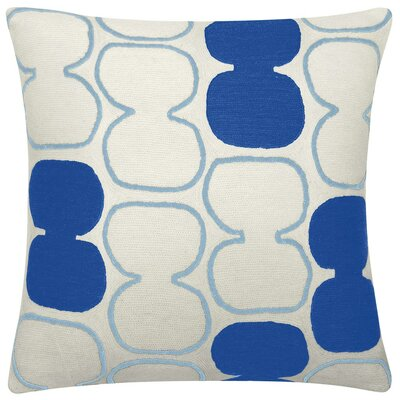 Tabla Outlined New Zealand Wool Throw Pillow Color: Cream/Marine/Powder Blue