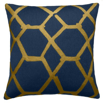 Jalli New Zealand Wool Throw Pillow Color: Blue/Gold