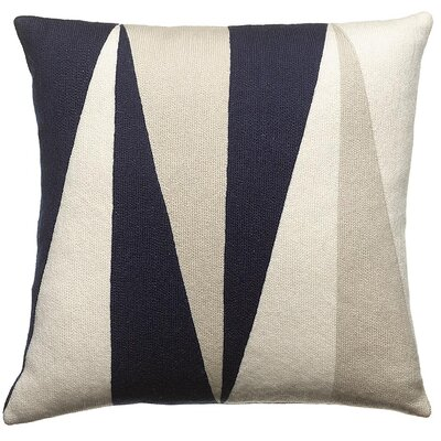 Blade New Zealand Wool Throw Pillow Color: Navy/Cream/Oyster