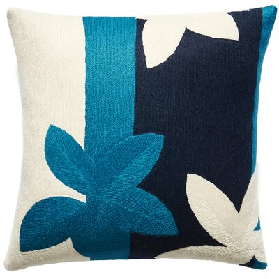 Sunset New Zealand Wool Throw Pillow Color: Tropical Blue/Cream/Navy