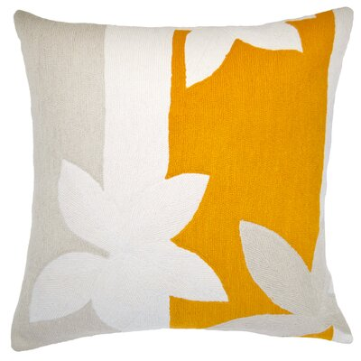 Sunset New Zealand Wool Throw Pillow Color: Cream/Oyster/Marigold