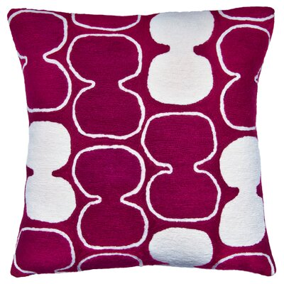 Tabla Outlined New Zealand Wool Throw Pillow Color: Claret/Cream