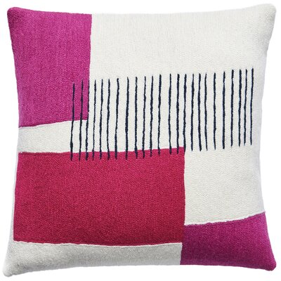 Level New Zealand Wool Throw Pillow Color: Cream/Cerise/Fuchsia/Navy