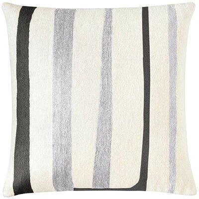 Stripe New Zealand Wool Throw Pillow Color: Cream/Fog Rayon/Black