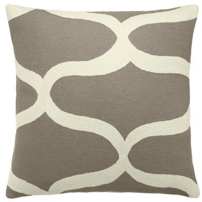 Wave Wool Throw Pillow Color: Smoke / Cream