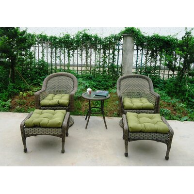 Rockport All Weather Wicker 5 Piece Lounge Seating Group with Cushion