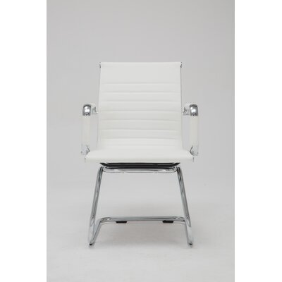Mid-Back Leather Guest Chair (Set of 2) Color: White