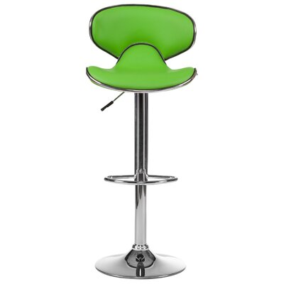 Adjustable Height Swivel Bar Stool (Set of 2) Upholstery: Green