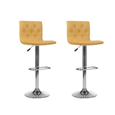 Adjustable Height Swivel Bar Stool (Set of 2) Upholstery: Yellow