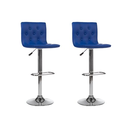Adjustable Height Swivel Bar Stool (Set of 2) Upholstery: Blue