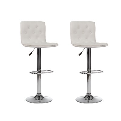 Adjustable Height Swivel Bar Stool (Set of 2) Upholstery: White