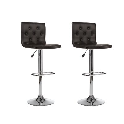 Adjustable Height Swivel Bar Stool (Set of 2) Upholstery: Black