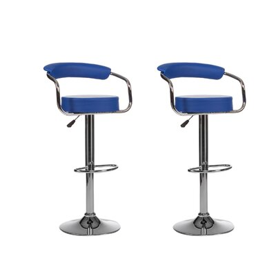 Curve Adjustable Height Swivel Bar Stool (Set of 2) Upholstery: Blue