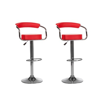 Curve Adjustable Height Swivel Bar Stool (Set of 2) Upholstery: Red