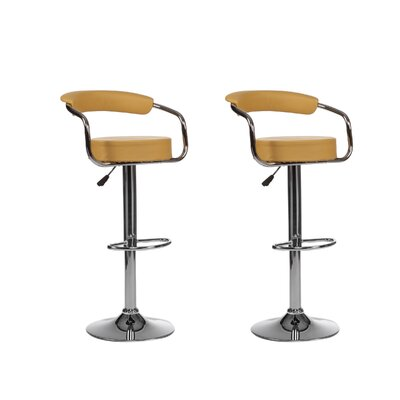 Curve Adjustable Height Swivel Bar Stool (Set of 2) Upholstery: Yellow