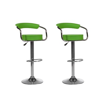 Curve Adjustable Height Swivel Bar Stool (Set of 2) Upholstery: Green