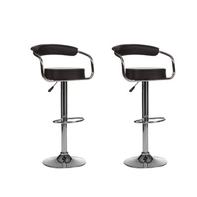 Curve Adjustable Height Swivel Bar Stool (Set of 2) Upholstery: Black