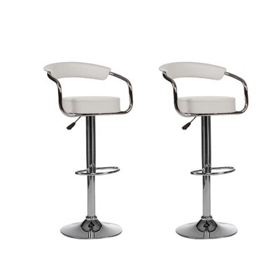 Curve Adjustable Height Swivel Bar Stool (Set of 2) Upholstery: White