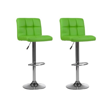 Mid-back Adjustable Height Swivel Bar Stool Upholstery: Green