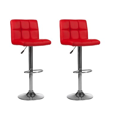 Mid-back Adjustable Height Swivel Bar Stool Upholstery: Red
