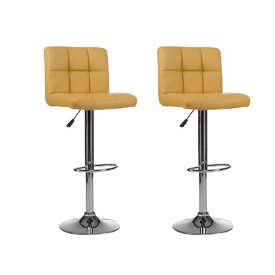 Mid-back Adjustable Height Swivel Bar Stool Upholstery: Yellow
