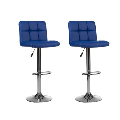 Mid-back Adjustable Height Swivel Bar Stool Upholstery: Blue