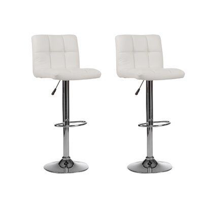 Mid-back Adjustable Height Swivel Bar Stool (Set of 2) Upholstery: White