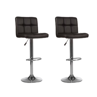 Mid-back Adjustable Height Swivel Bar Stool (Set of 2) Upholstery: Black