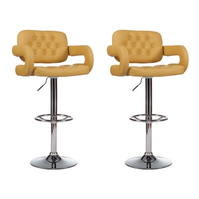 Mid-Back Adjustable Height Swivel Bar Stool (Set of 2) Upholstery: Yellow
