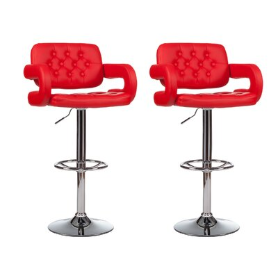 Mid-Back Adjustable Height Swivel Bar Stool (Set of 2) Upholstery: Red