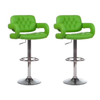 Mid-Back Adjustable Height Swivel Bar Stool (Set of 2) Upholstery: Green
