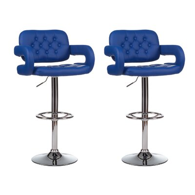 Mid-Back Adjustable Height Swivel Bar Stool (Set of 2) Upholstery: Blue