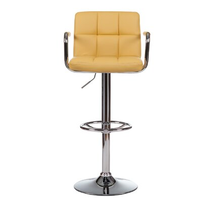 Adjustable Height Swivel Bar Stool with Cushion (Set of 2) Upholstery: Yellow
