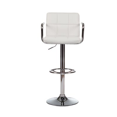 Adjustable Height Swivel Bar Stool with Cushion (Set of 2) Upholstery: White