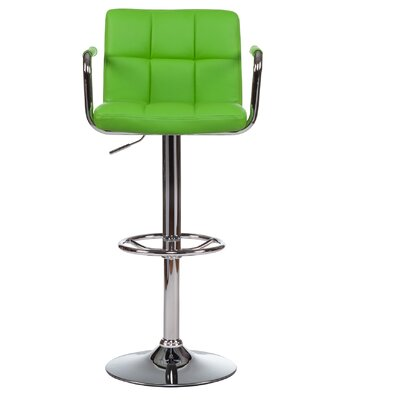 Adjustable Height Swivel Bar Stool with Cushion (Set of 2) Upholstery: Green