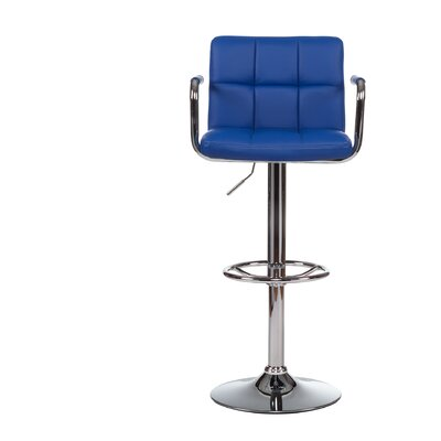 Adjustable Height Swivel Bar Stool with Cushion (Set of 2) Upholstery: Blue