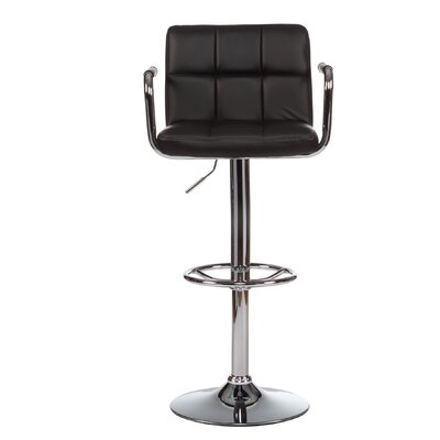 Adjustable Height Swivel Bar Stool with Cushion (Set of 2) Upholstery: Black
