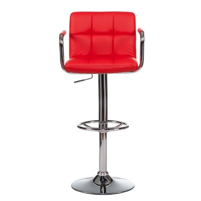 Adjustable Height Swivel Bar Stool with Cushion (Set of 2) Upholstery: Red