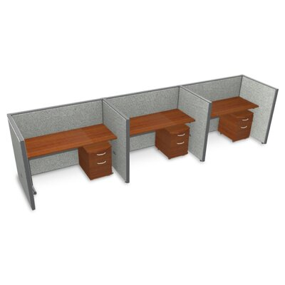 Privacy Station Panel System 1x3 Configuration Top Finish: Cherry, Panel Color: Gray Vinyl, Size: 47 H x 60 - 188.5 W