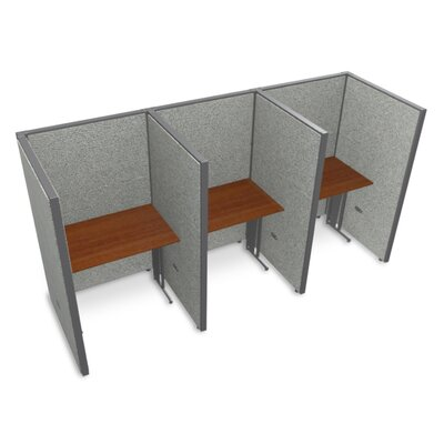Privacy Station Panel System 1x3 Configuration Top Finish: Cherry, Panel Color: Gray Vinyl, Size: 63 H x 36 - 199.5 W