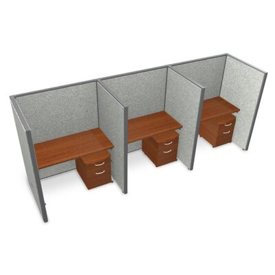 Privacy Station Panel System 1x3 Configuration Top Finish: Cherry, Panel Color: Gray Vinyl, Size: 63 H x 48 - 152.5 W