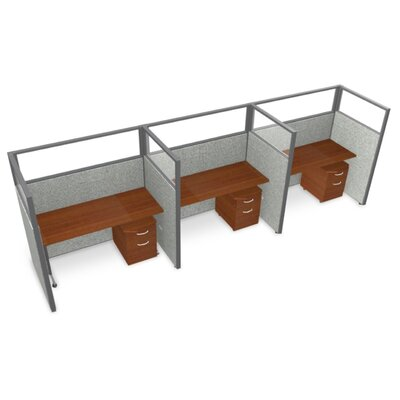 Privacy Station Panel System 1x3 Configuration Panel Color: Gray Polycarbonate, Top Finish: Cherry, Size: 63 H x 60 - 188.5 W