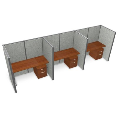 Privacy Station Panel System 1x3 Configuration Size: 47 H x 36 - 119.5 W, Top Finish: Cherry, Panel Color: Beige Vinyl