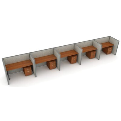 X5 Privacy Station Panel System 1x5 Configuration Top Finish: Cherry, Panel Color: Gray Vinyl, Size: 47 H x 60 - 312.5 W