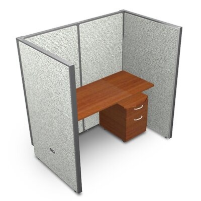 Privacy Station Panel System 1x1 Configuration Top Finish: Cherry, Panel Color: Gray Vinyl, Size: 63 H x 60 - 250.5 W