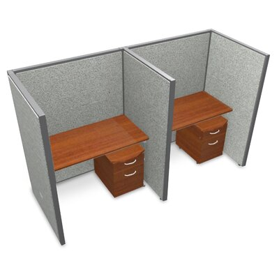 Privacy Station Panel System 1x2 Configuration Top Finish: Cherry, Panel Color: Gray Vinyl, Size: 63 H x 48 - 102.5 W