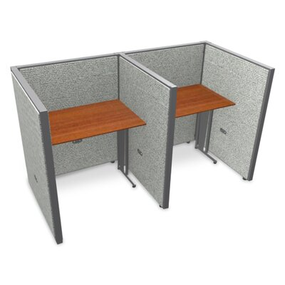Privacy Station Panel System 1x2 Configuration Size: 47 H x 36 - 80.5 W, Top Finish: Cherry, Panel Color: Gray Vinyl