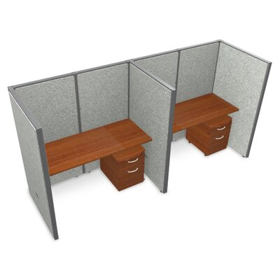 Privacy Station Panel System 1x2 Configuration Top Finish: Cherry, Panel Color: Gray Vinyl, Size: 63 H x 60 - 126.5 W